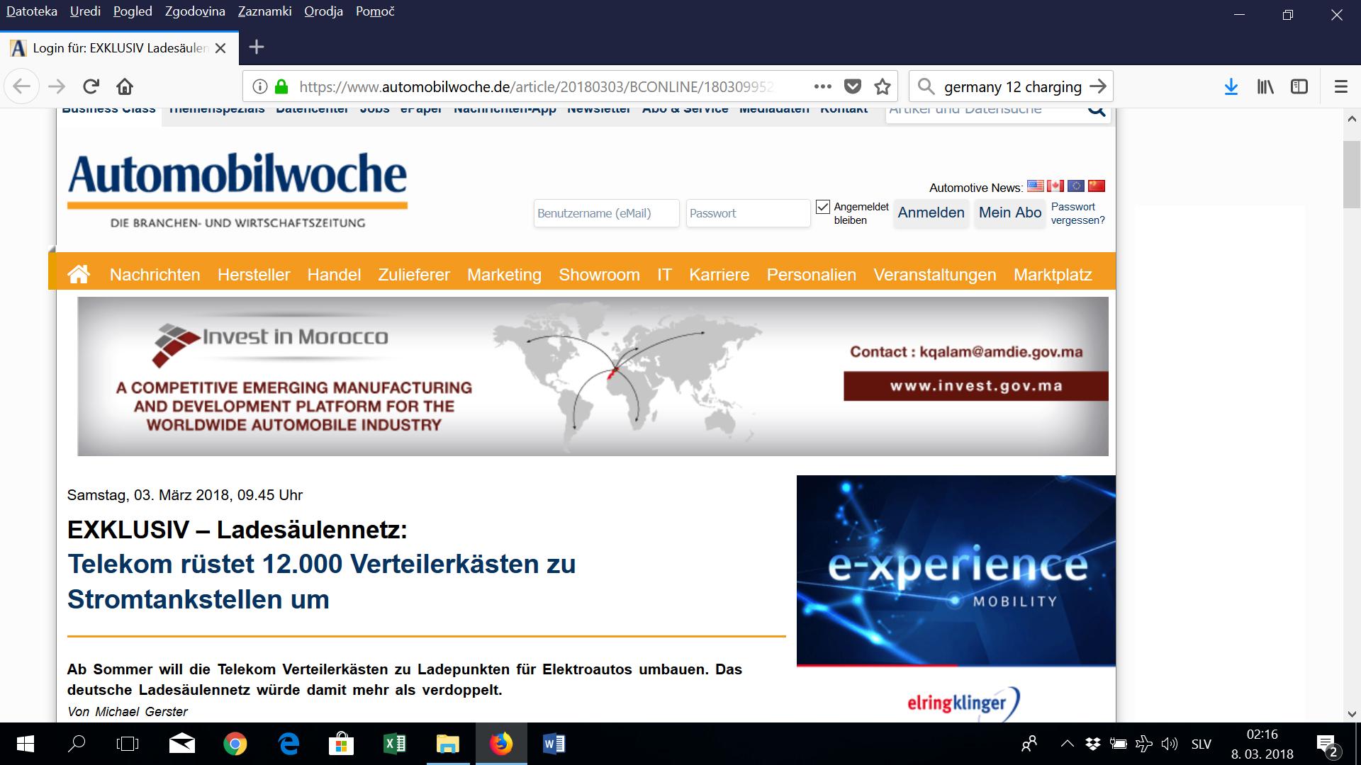 Nemški Telekom: polnilnice za e-avte v razdelilnih omaricah