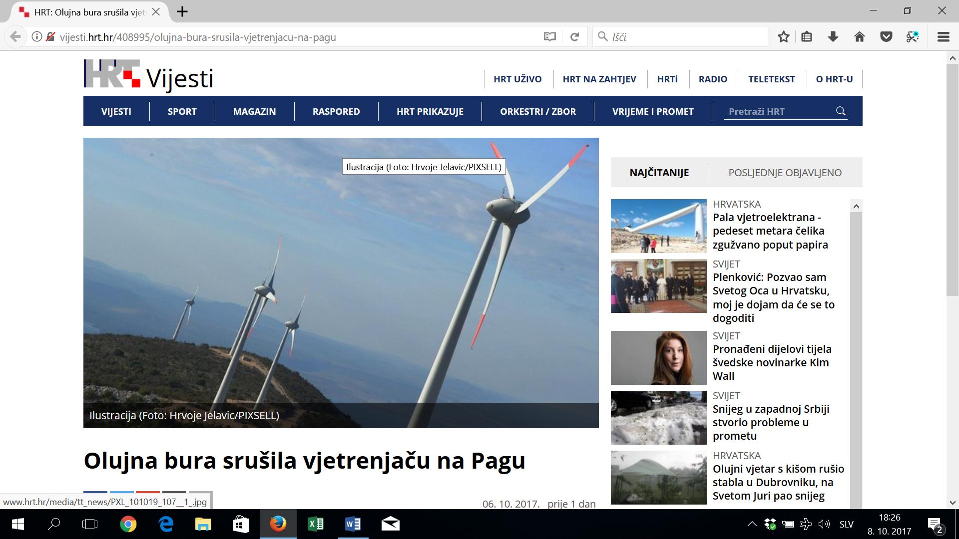 Burja na Pagu zrušila 35-tonsko vetrnico