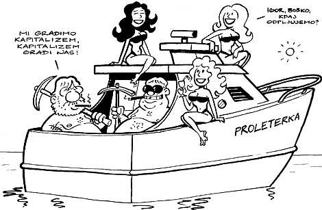 Karikatura se navezuje na komentar janša ne napada brani se